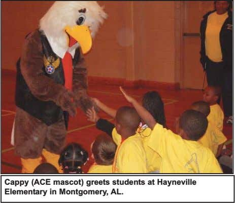 Cappy (ACE mascot) greets students at Hayneville Elementary in Montgomery, AL.