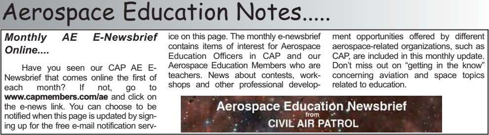 Aerospace Education Notes Monthly AE E-Newsbrief Online Have you seen our CAP AE E- Newsbrief