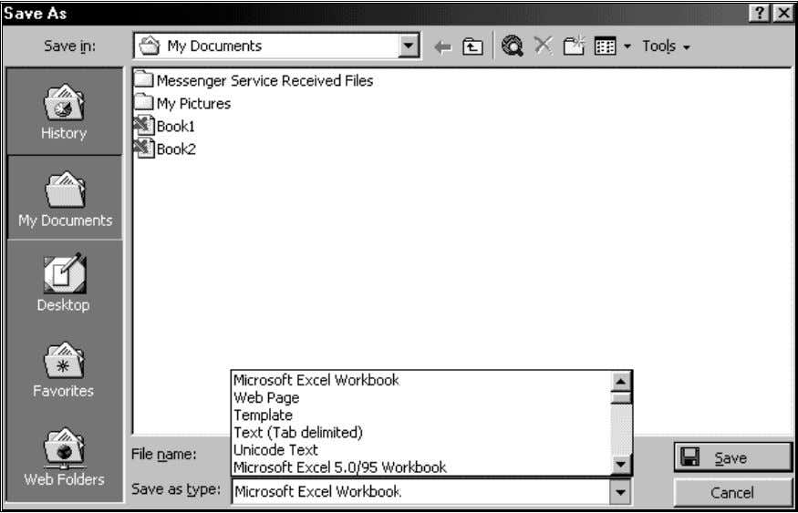 1: The FILE/OPEN or FILE/SAVE AS dialog (user-input form) Excel worksheet versions 2.0 to 4.0. If