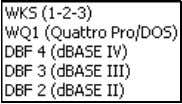 software. Figure 4: Quattropro and the popular dBase formats 1.1.B TEXT Different text formats include cro