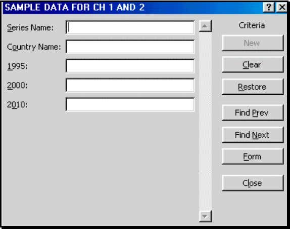 "dialog. Note the title ""Criteria"" at the top-right. Enter the criterion for finding data. (For a"