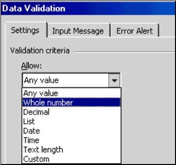 """Autocorrect"" Figure 18: Setting the Validation Criteria When you click on the option ""Whole Number,"" the"