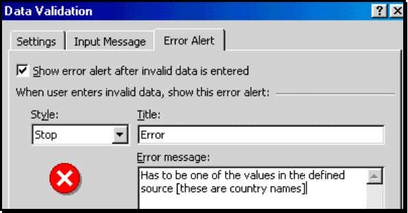 "Alert"" pr ovides the valid criteria in the error message Choose cell H2. When you click"