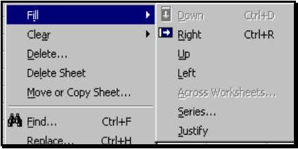 "sub–options for Fill. Choose the sub-menu ""Series."" Figure 45 reproduces the dialog that opens. Excel has"