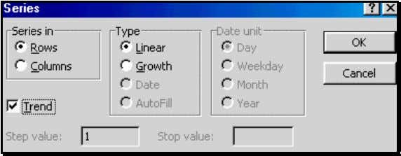 with a Linear Trend that increments by one for each cell Execute the dialog by clicking