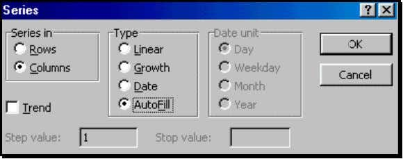 "52: Using ""Autofill"" to Fill in the series of months Execute the dialog by clicking on"