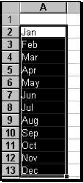 "the filled range. Figure 53: The Filled series of months 3 Choose the option ""Date if"