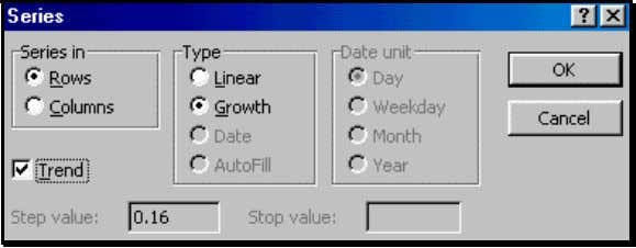 "Figure 69: Example of using a ""Growth"" type of Fill Excel fills the series. Figure 70"