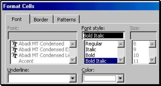 format, select different font colors for every conditional format. Figure 76: Choose a font style, color,
