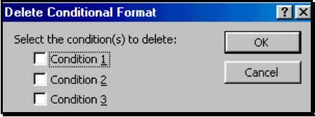 82: Dialog for deleting Co nditions in a Conditional Format 5.8 SELECTING ALL CELLS WITH THE