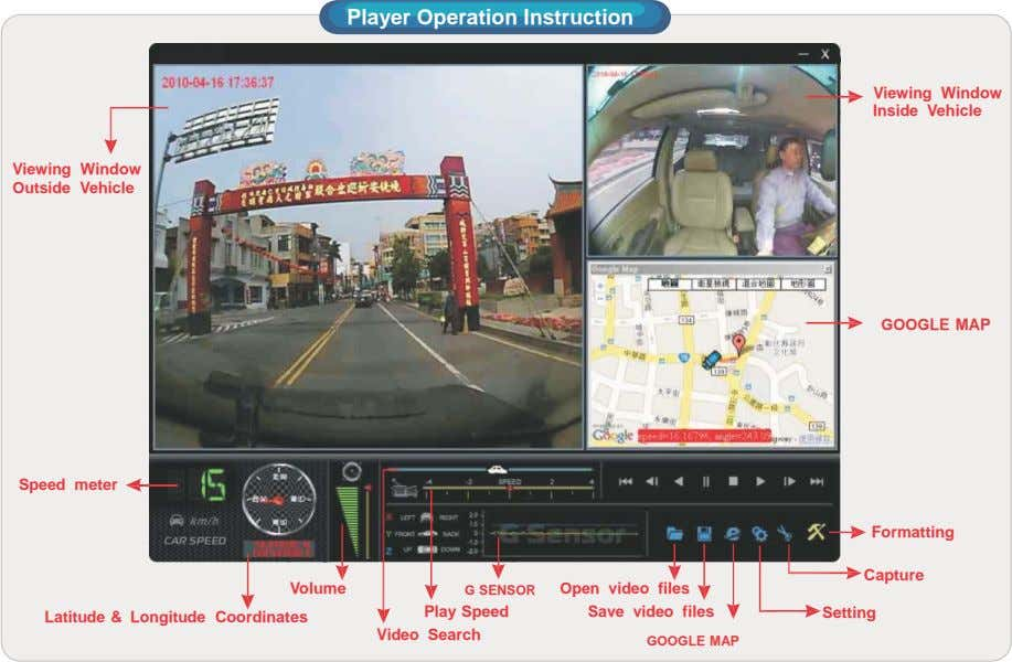Player Operation Instruction Viewing Window Inside Vehicle Viewing Window Outside Vehicle GOOGLE MAP Speed meter