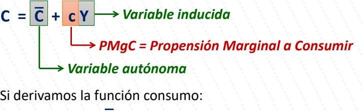 C = C + c Y Variable inducida PMgC = Propensión Marginal a Consumir Variable
