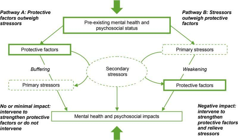Pathway A: Protective factors outweigh stressors Pre-existing mental health and psychosocial status Pathway B: