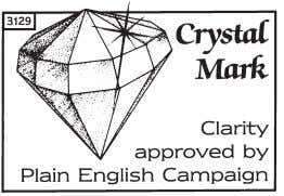 lists to centres we have approved to offer this programme. Plain English Campaign's Crystal Mark only