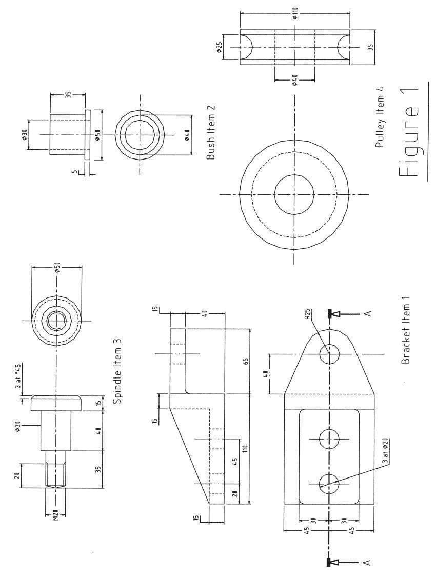 6.1 Assembly drawing of a pulley and support bracket. 42 IVQ in Electrical and Electronic Engineering