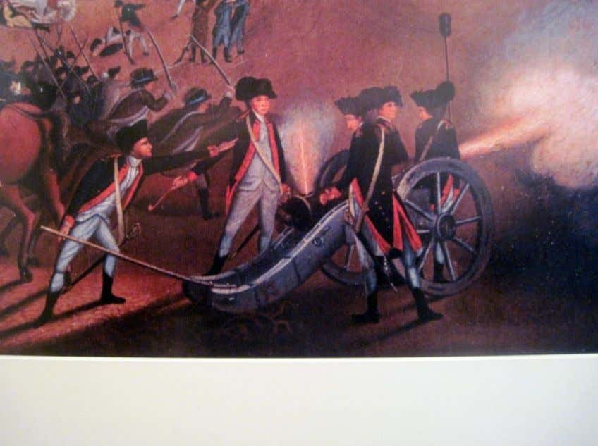 "Continental Army field artillery in action. Detail from William Mercer, ""Battle of Princeton on 3rd"