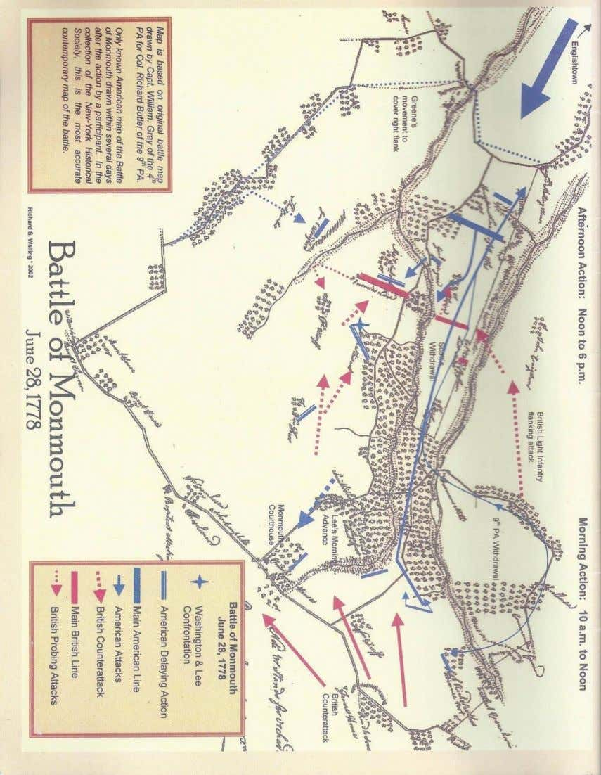 1778 Map of the Monmouth Battle (drawn by William Gray) Modern version of manuscript 1778 map