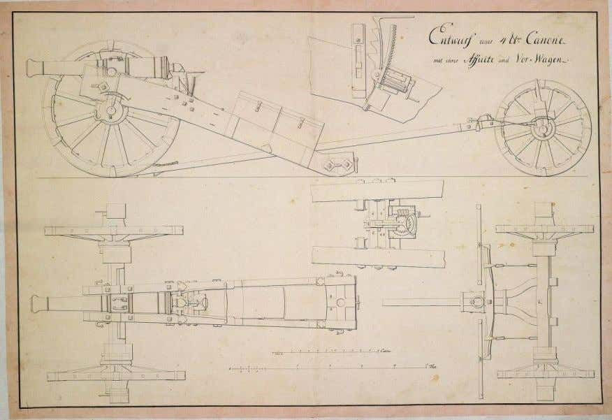 Carriage and limber for a Hessian 4-pounder cannon, n.d. [no
