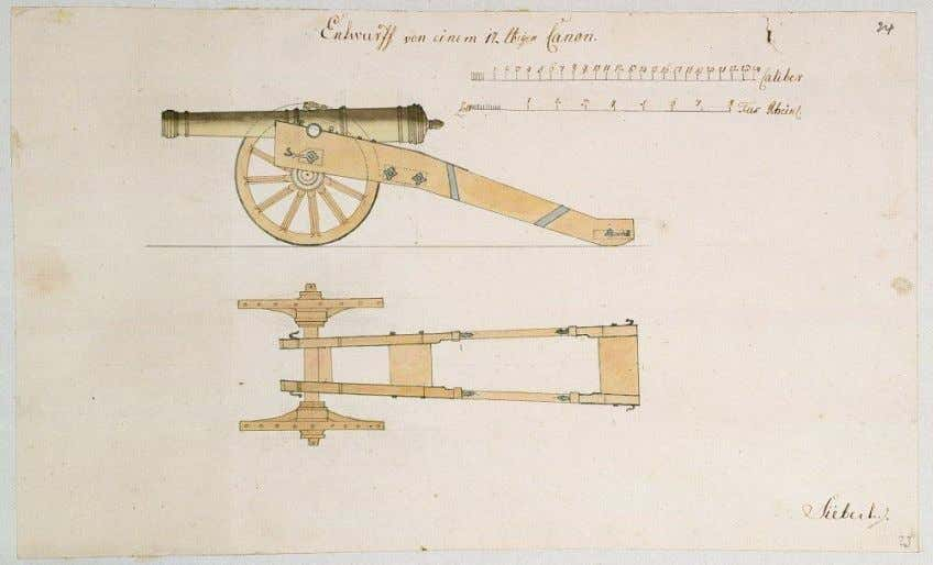 Drawing of a 12-pounder cannon, n.d. (Inventory ID, HStAM cards WHK 43/24). Image 24 of