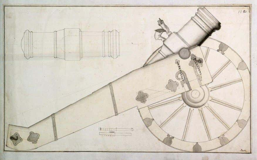 Drawing a howitzer with carriage, circa 1770 . (Inventory ID, HStAM cards WHK 43/13a). Image