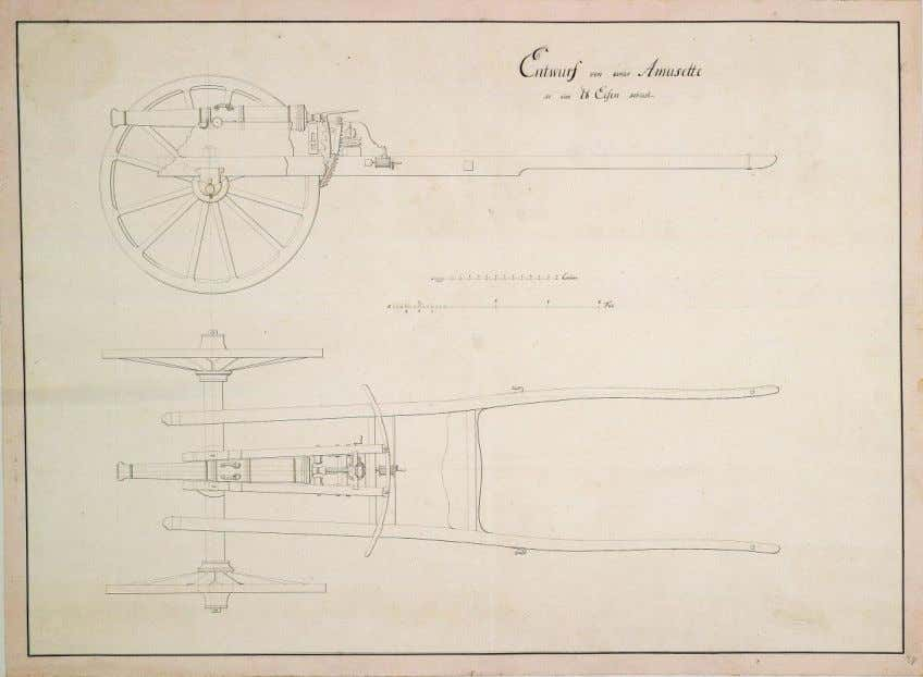 Drawings of 1-pounder Amusette, n.d. (Inventory ID, HStAM cards WHK 43/29). Image 29 of WHK