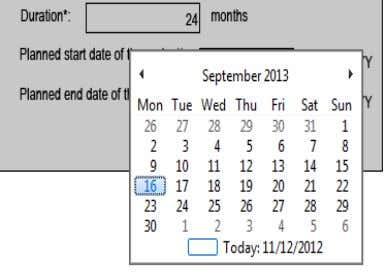 Form. Duration and planned start/end dates of the project Only the fields marked with an *