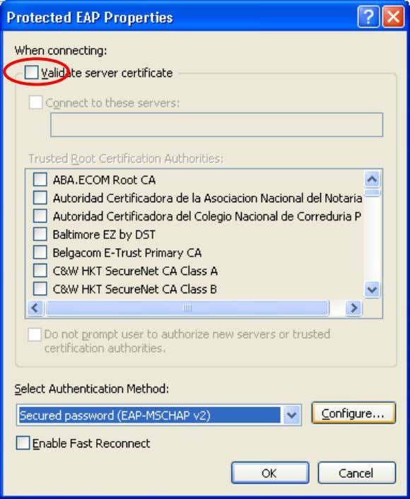 FreeRADIUS Active Directory Integration Charles Schwartz Deselect « Validate server certificate » and select «