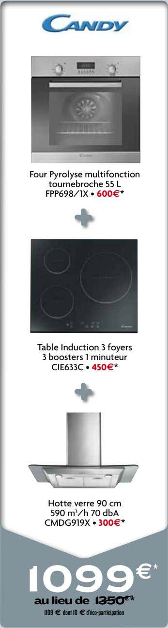 Four Pyrolyse multifonction tournebroche 55 L FPP698/1X • 600e* Table Induction 3 foyers 3 boosters