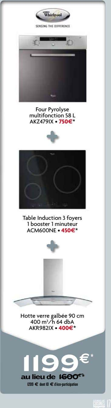 Four Pyrolyse multifonction 58 L AKZ479IX • 750e* Table Induction 3 foyers 1 booster 1