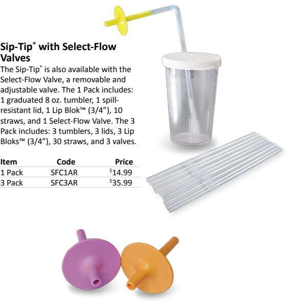 Sip-Tip ® with Select-Flow Valves The Sip-Tip ® is also available with the Select-Flow Valve,