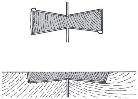Fig. 12. Dovetail joinery, currently in place (both boats). unsecured dovetails are impractical as a boat's