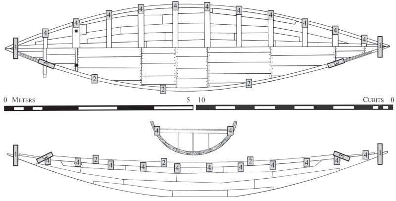 end pieces and to prevent the hull timbers from slipping. Fig. 15. Fastenings map for gC