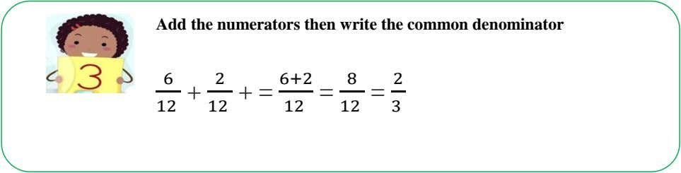 Add the numerators then write the common denominator 6 2 6:2 8 2 + =