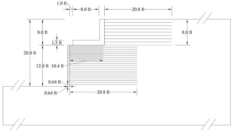 Figure 7.3. Details of GRS bridge abutments for shaking in longitudinal direction. 7.1.2. Material Models