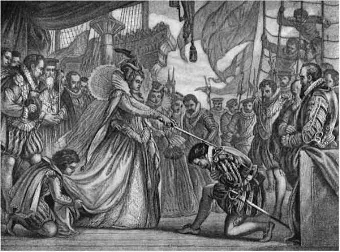 Sir Francis Drake (c. 1534 - 1596) Being knighted by Elizabeth I on board the
