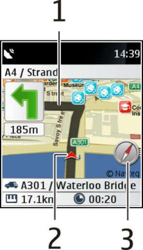 you create for navigation on foot. Drive navigation view 1 Route 2 Your location and the
