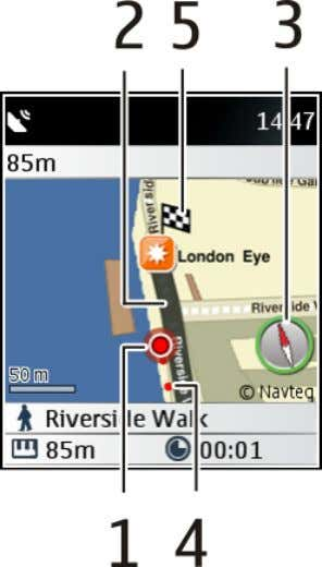 Maps 61 Walk navigation view 1 Your location 2 Route to follow 3 Compass 4 Your