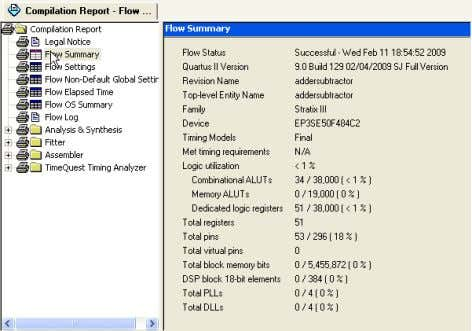 4 COMPILING THE VHDL CODE Figure 20: Compilation report. The Compilation Report provides a lot of