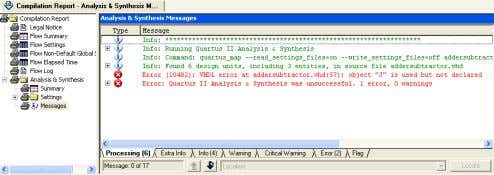 to have all messages displayed as shown in Figure 26. Figure 26: Error messages. 3. Double-click