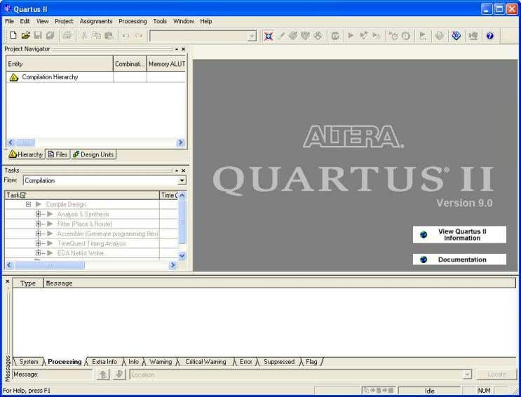 and open windows within the main Quartus ® II display. A LTERA ® C ORPORATION M