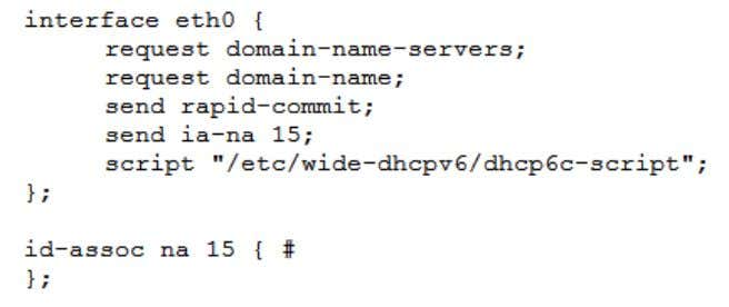 host-side configurations, as made in the Linux hosts tested: Figure 17 - dhcp6c.conf configuration file This