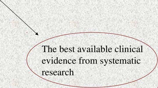 Global Definition of EBP Including Both The best available clinical evidence from systematic research The conscientious,