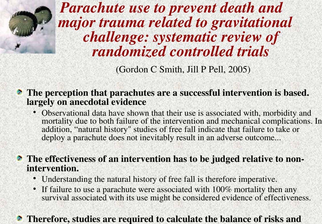 Parachute use to prevent death and major trauma related to gravitational challenge: systematic review of randomized
