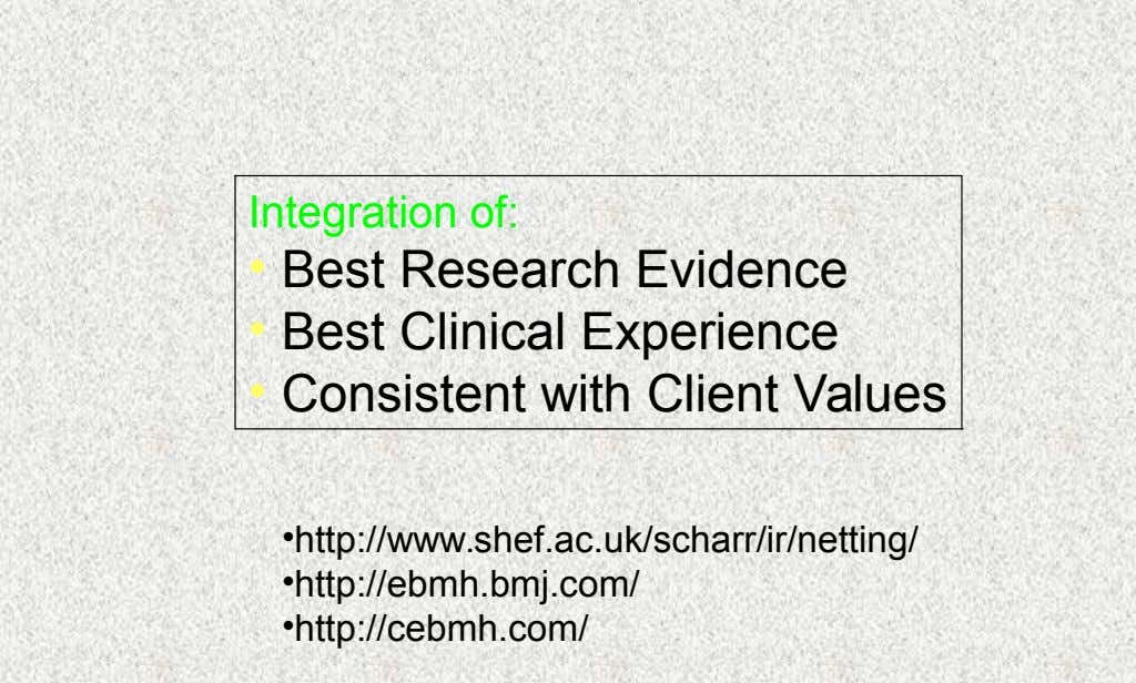 Integration of: • Best Research Evidence • Best Clinical Experience • Consistent with Client Values •http://www.shef.ac.uk/scharr/ir/netting/