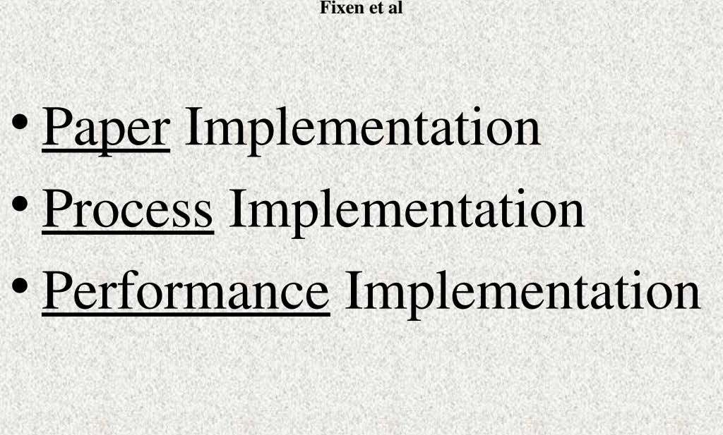 Fixen et al • Paper Implementation • Process Implementation • Performance Implementation