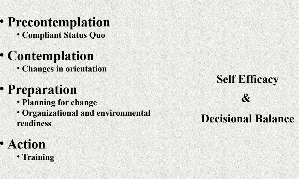 • Precontemplation • Compliant Status Quo • Contemplation • Changes in orientation • Preparation Self Efficacy