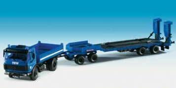 "3axle, with ""THW"" flat roof and trailer 9 x 3 x 3,2 cm B-18458 THW Kipper"