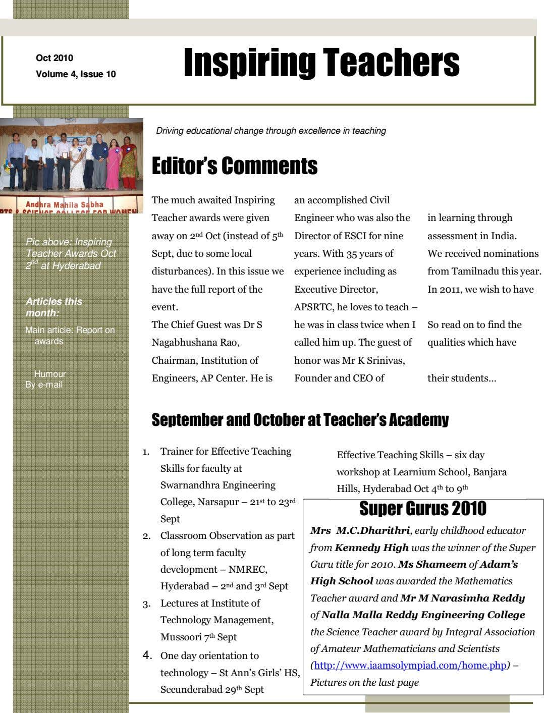 Oct 2010 Inspiring Teachers Volume 4, Issue 10 Driving educational change through excellence in teaching