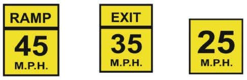 Speed Advisory Signs may accompany some warning signs. Regulatory signs No Right Turn No Left Turn