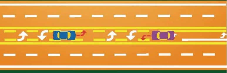 Pavement arrows in center lanes are not always installed. Following Turning Vehicles When following a driver